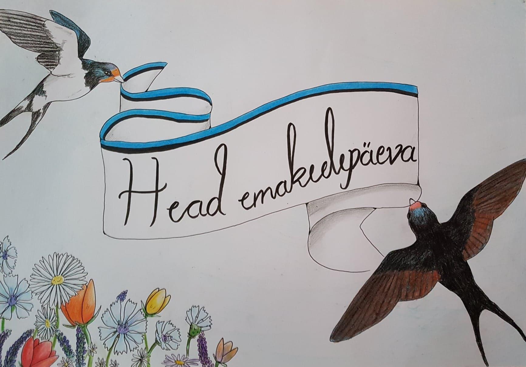Emakeelepäeva plakat 2019 Särevere õppekohas. Autorid PH-18 õpilased Carolina Repnau ning Lileen Irv.