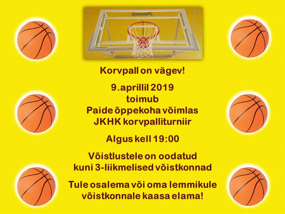 9.aprillil 2019 toimub Paide õppekoha võimlas korvpalliturniir!