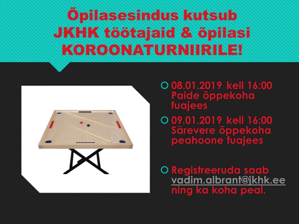 JKHK koroonaturniir õpilastele ja töötajatele.