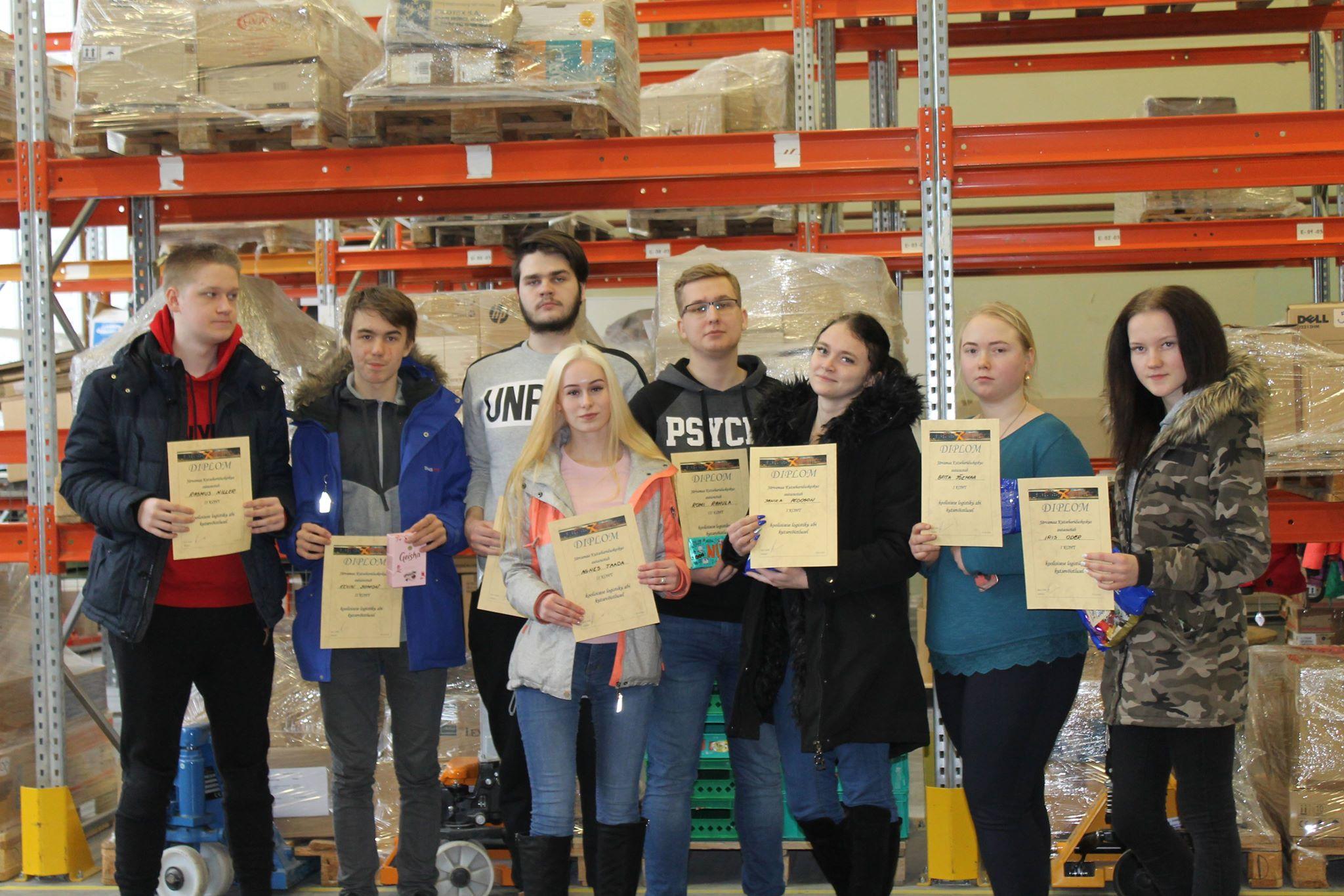 Logistiku abi eriala koolisisene kutsevõistlus 2019 - kõik auhinnalise koha saavutanud õpilased.